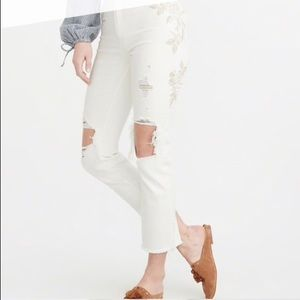 Abercrombie Natural Rise Embroidered White Jeans